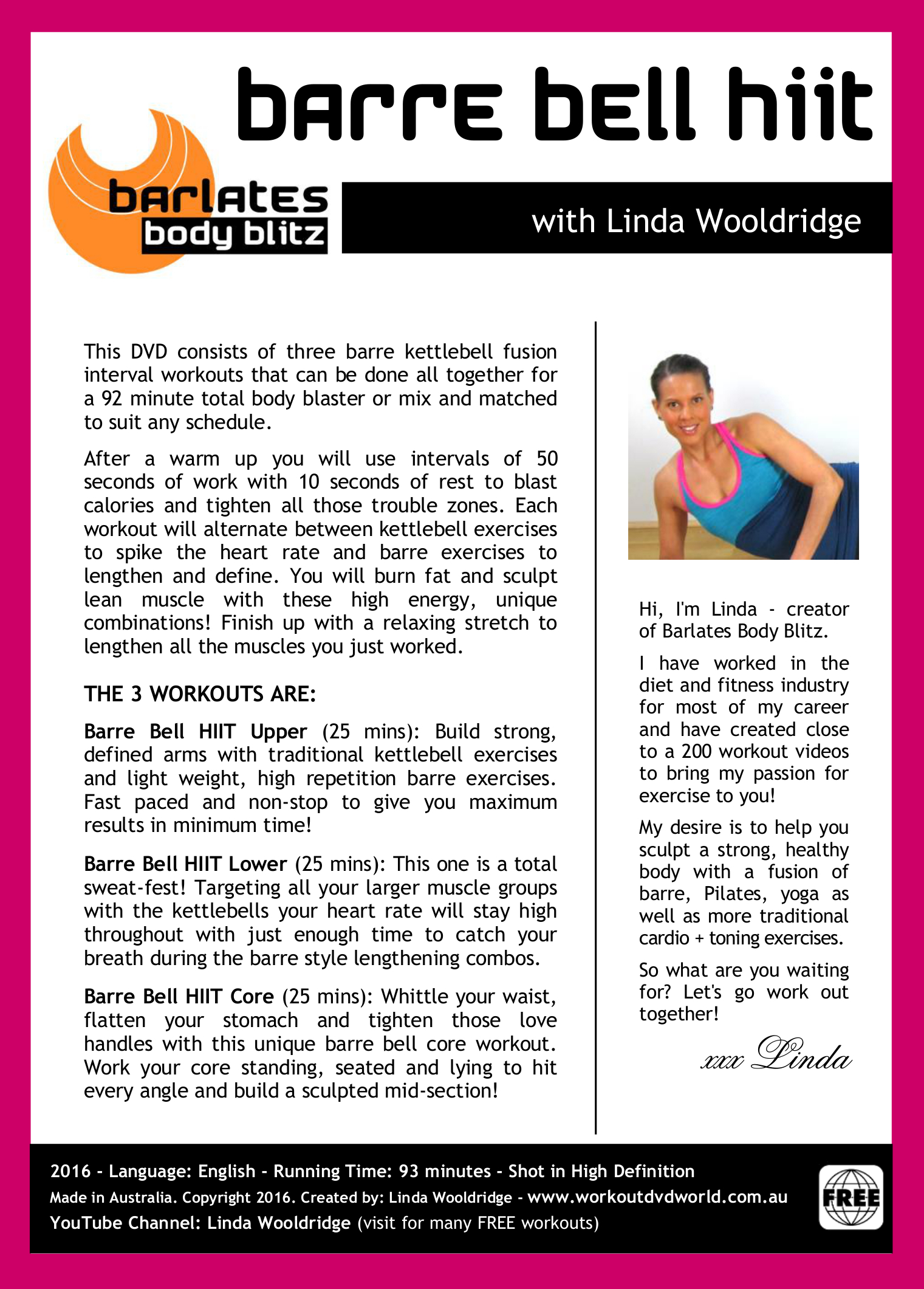 Barlates Body Blitz Barre Bell HIIT 3 Workout Dvd With Linda Wooldridge Back